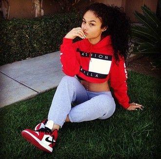 top sweatpants tommy hilfiger tommy hilfiger crop top dope swag streetwear high top sneakers sneakers hip hop fashion nike india westbrooks red urban grey sweatpants cropped hoodie