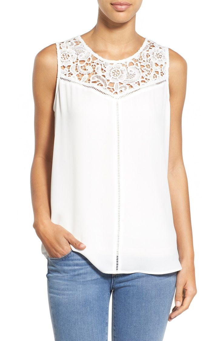 Pleione Lace Yoke Sleeveless Top available at #Nordstrom