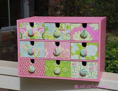 #ikea MOPPE (FIRA, MACKIS) mini chest of drawers: painted, covered with scrapbooking paper, drawer pulls added