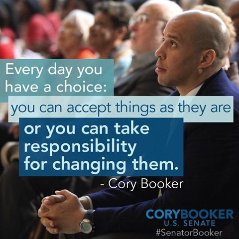 Sen. Cory Booker, an amazing man who really cares about the people. He took the time to send me a personal message, but when I wrote to my own senators from Kansas I got no response. So glad I helped canvass for him!!
