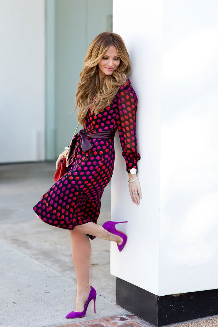 polka dot dress, red and fuchsia outfit, DKW Styling, fashion blogger