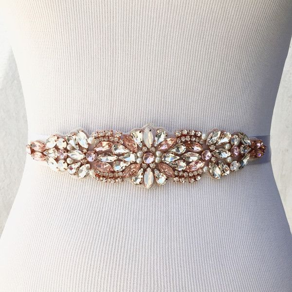 Rose Gold Bridal Sash, Bridal Belt, Wedding Sash, Pink Wedding Belt,... (95 AUD) ❤ liked on Polyvore featuring accessories, belts, sash belt, rose gold belt, bridal sash belt, pink belt and bridal belt
