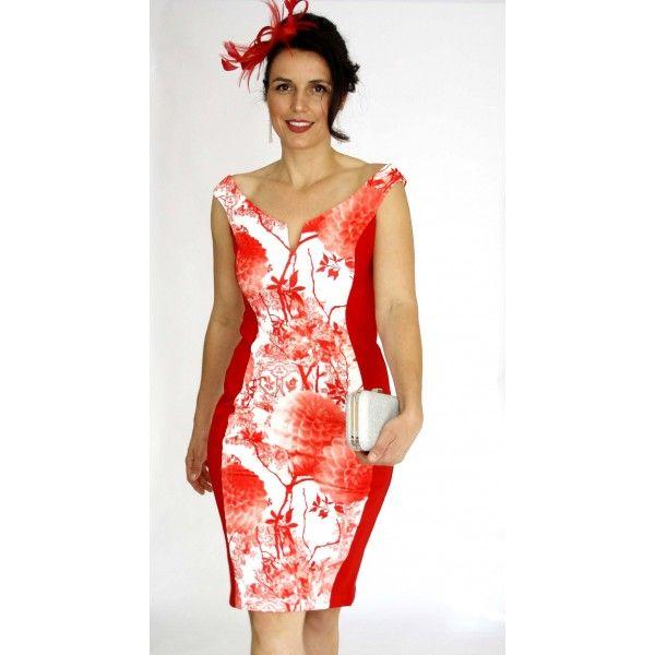 Sinara Off-Shoulder Slimming Cocktail Race Dress