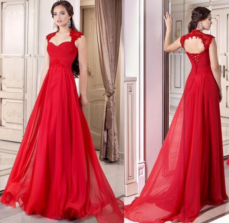2015 Formal Red Evening Gown Corset Chiffon Long Full Length Lace Up A Line Prom Dresses Cap Sleeve Wedding Party Gowns Prom Prom Dresses 2015 From Internationalwedding, $104.72| Dhgate.Com