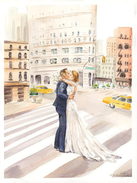 Watercolor Wedding Portrait Save The Date Couple Illustration