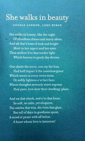 """darkness and light in she walks in beauty a poem by lord byron In lord byron's poem, she walks in beauty the darkness and brightness from lines above have """"mellowed""""(5) to become a """"tender light,""""(5."""