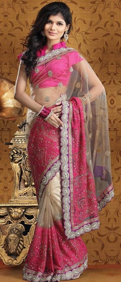 #Cream and Dark #Pink Net #Saree With Blouse @ $444.30 | Shop @ http://www.utsavfashion.com/store/sarees-large.aspx?icode=ssk5017