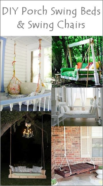 Awesome ideas...using recycled doors and beds...LOVE ~ the old wicker loveseat.. porch swing (top left pic) such clever  unique ideas on this site ~ awesome!