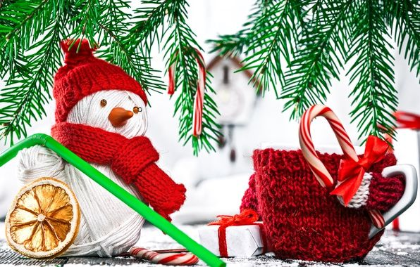 Wallpaper mug, twigs of spruce, holiday, New Year, snowman images for desktop, section новый год - download