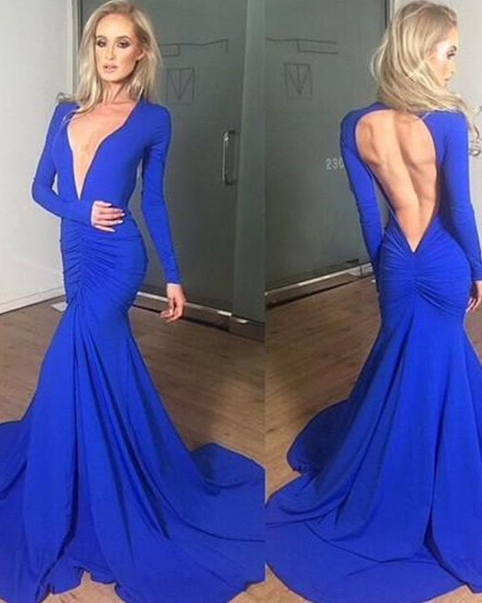3ca3c564be V-neck Ruched Blue Simple Satin Mermaid Style Prom Dress with Long ...