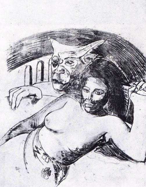 Γυναίκα και κακό πνεύμα στην Ταϊτή (1900) Χαρακτική μονοτυπία σε υπόλευκο χαρτί  Ιδιωτική συλλογή