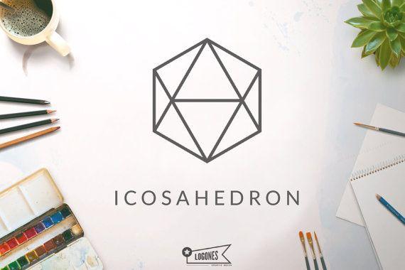 Icosaèdre Logo Logo géométrique instantanée en par Logones sur Etsy