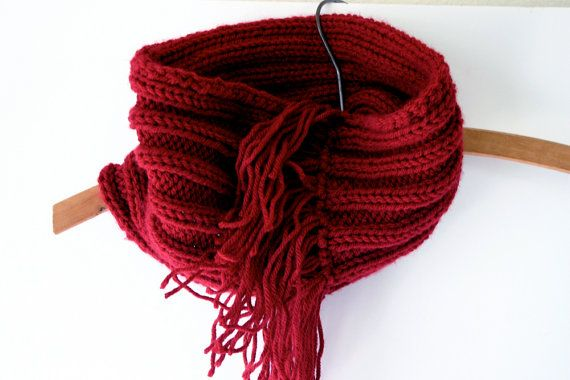 Knit Cowl Pattern Worsted Weight : Red Knitted Fringed Cowl- Circle Infinity Scarf- Winter Accessory-Worsted Wei...