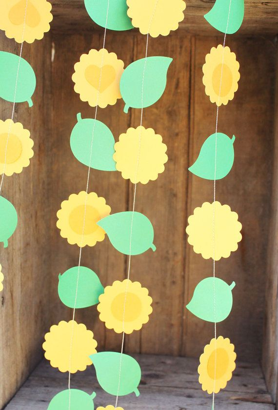 Sunflower Garland Paper Garland Paper Flower by smileywileys