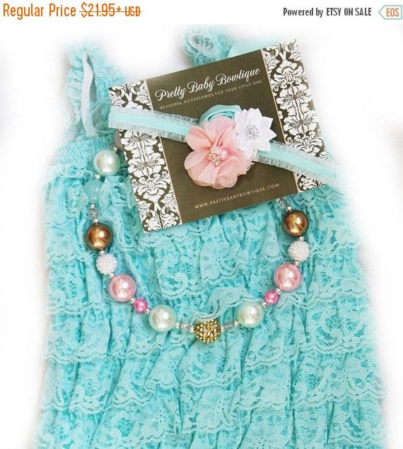 SALE Baby Lace Romper Headband Necklace SET, Light Pink and Aqua  and Gold Petti Romper And Baby Headband, Baby Outfit, Baby Photo Prop