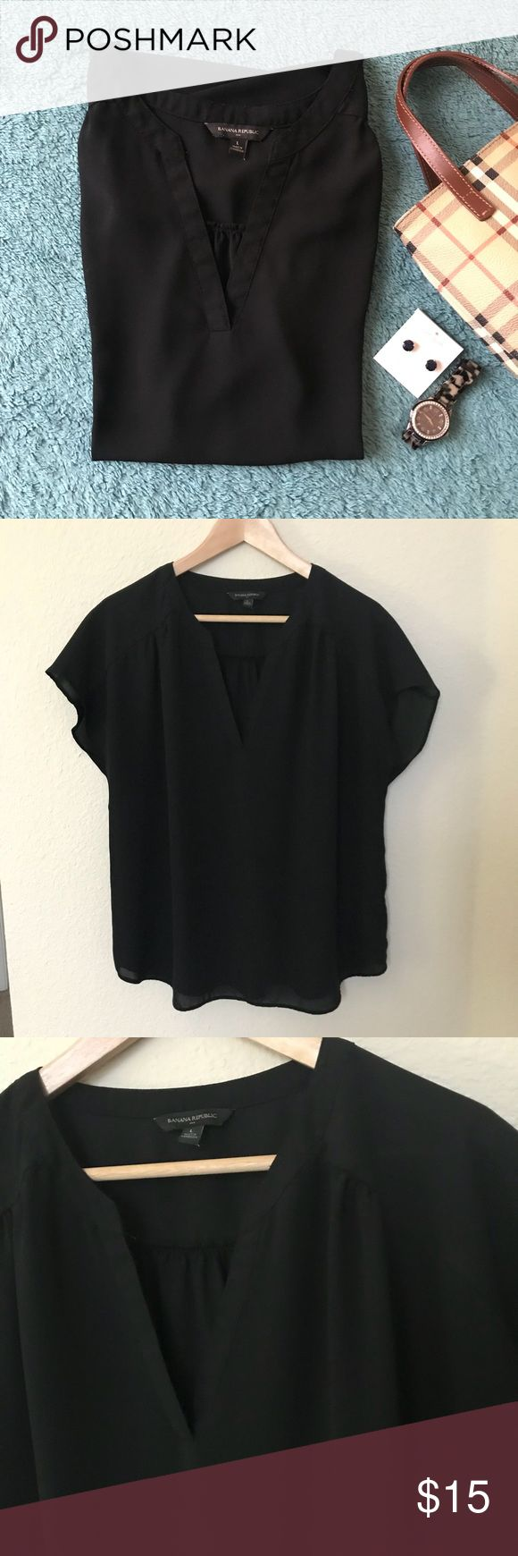 """🎉BOGO🎉 Banana Republic blouse top Banana Republic black blouse top; size L; measurements laying flat: bottom of armpit-to-armpit about 22"""" across and shoulder to hem about 25"""" long; used once and in excellent condition. Banana Republic Tops Blouses"""