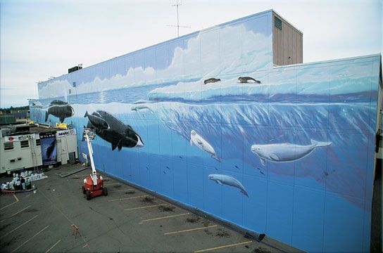 "WW 54 ""Alaska's Marine Life""  J.C. Penneys  406 W. 5th Ave.  Anchorage, Alaska  400 Feet Long x 50 Feet High  Dedicated August 8th, 1994  By Mayor Rick Mystron"