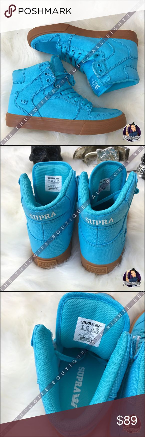 Teal blue high top Supra sneaker Are these not the most gorgeous color ! Kill any out fit with these statement sneakers ! Supra Shoes Sneakers