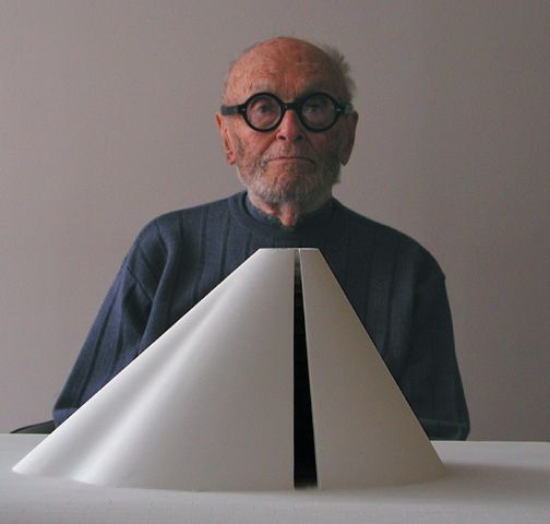 The famous American architect Philip Johnson at his office in Seagram Building, Manhattan in 2002.