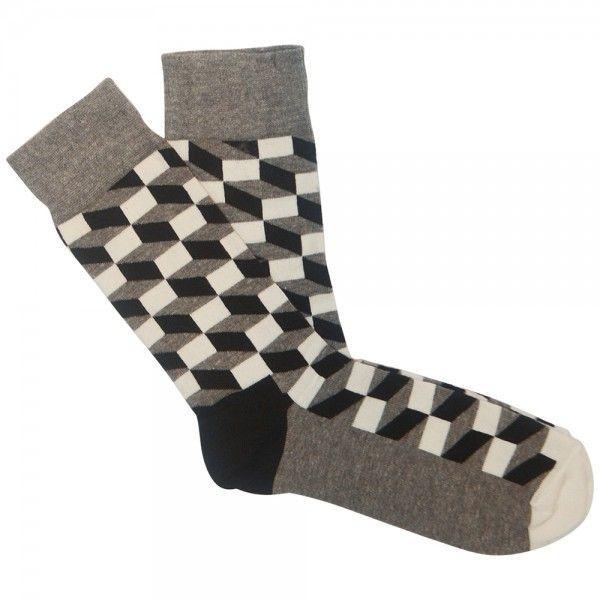 Happy Socks - Filled Optic black white grey