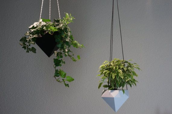 Hanging planter Diamond 3D printed by GreenDesk on Etsy