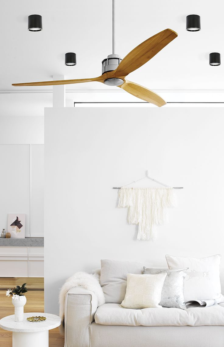 The Beacon Lighting Airfusion Akmani 152cm DC fan in brushed chrome with wooden teak blades, complete with 6 speed remote control. Light adaptable (not included)