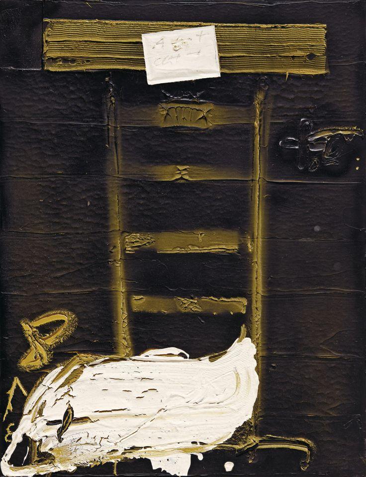 "Antoni Tàpies, ""Reclinatori"" (Betstuhl), Malerei auf Leinwand 1989"