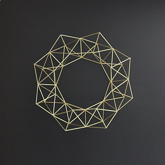 Large Brass Himmeli Wreath / Modern Geometric Wall Sculpture / Minimalist Home Decor