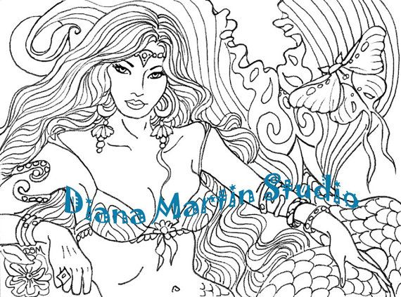 The Moth & The Maid   digital stamp mermaid luna moth drawing