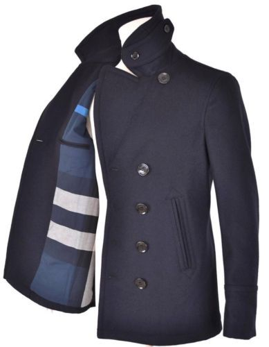 NEW BURBERRY MEN'S NAVY BLUE WOOL NOVA CHECK MILITARY SLIM PEA COAT JACKET LG