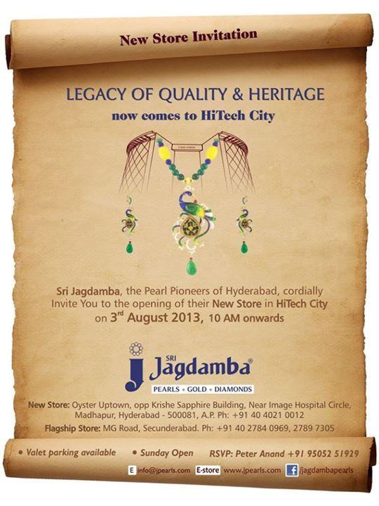 It's Up, a new chapter in the Legacy in Pearls & Jewellery. Curtain rises, in few minutes Our New store Grand Opening Celebration at HiTech City, your presence adds more delight. www.jpearls.com