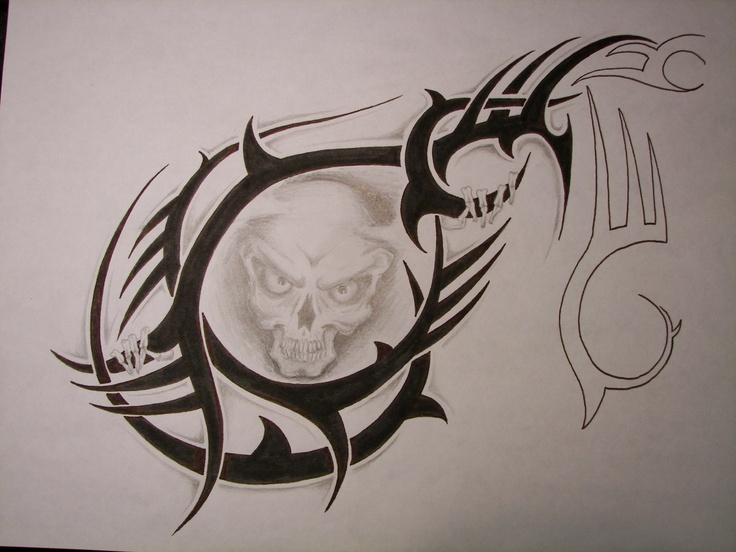 S - SKULL TRIBAL TATTOO DRAWING for Craig's chest/shoulder ...