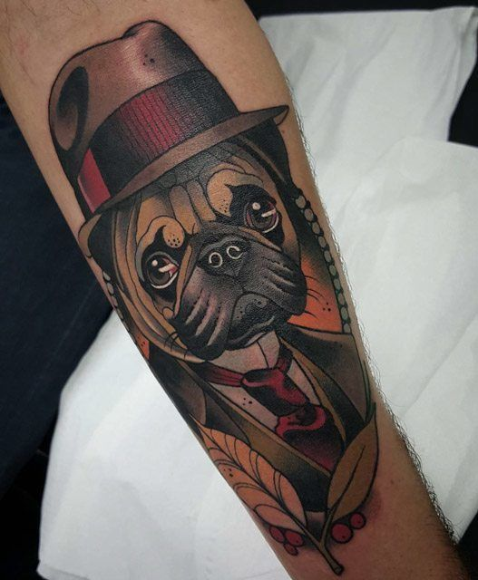 neo-traditional tattoo pug