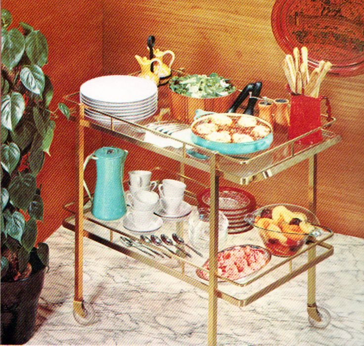 Use a bar cart for tea, hors d'oevres, or bar as needed
