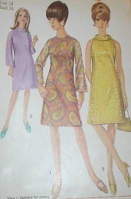 Vintage 1960s Simp 6783 MOD A Line Dress Pattern 32B