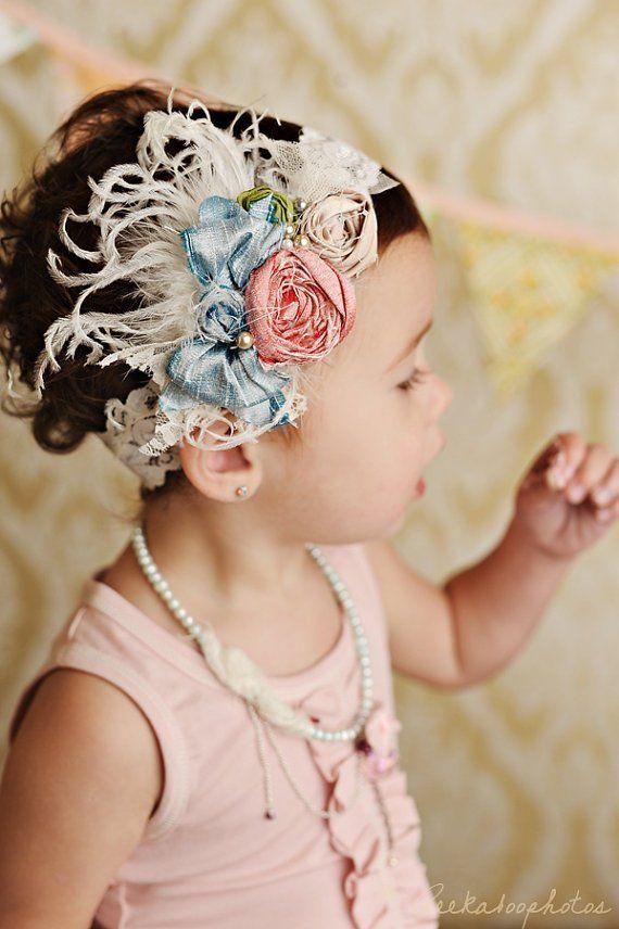 Mademoiselle silk bow rosette headband - Cozette Couture