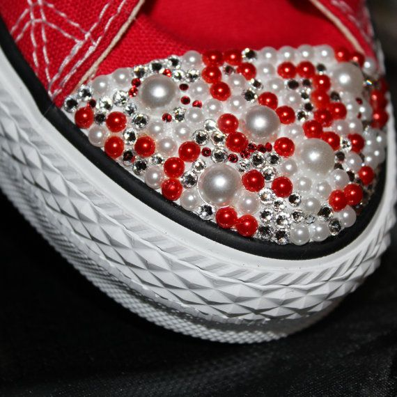 Red Converse Bling Converse Sneakers Bling by TyyonCreations