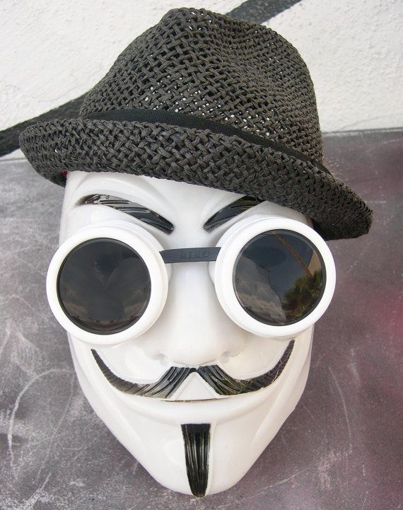 This listing is for a 2 pc lightweight V for Vendetta face mask with matching goggles. Goggles and mask may be worn separately.    Goggles have UV-400,