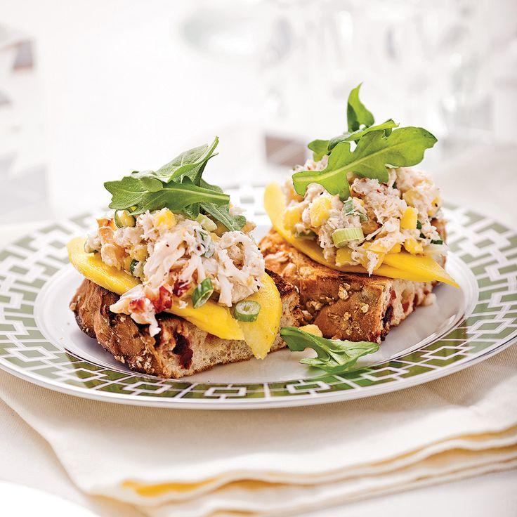 Bruschetta crabe et mangue - Entrées et soupes - Recettes 5-15 - Recettes express 5/15 - Pratico Pratique