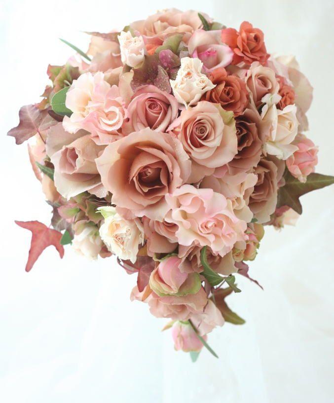 ブーケ ティアドロップ モカ : 一会 ウエディングの花