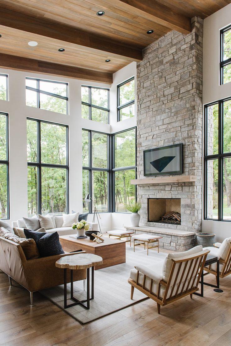 Fresh Rustic Interior Design Ideas Living Room: Modern Lake House, Home Living Room, House Design