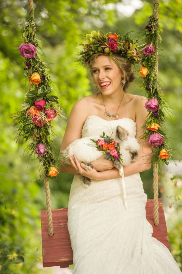 A Jewel Toned Floral Swing for a Garden Wedding | Lovely and Light | See More! http://heyweddinglady.com/southern-garden-wedding-brunch-in-jewel-tones-from-lovely-and-light/
