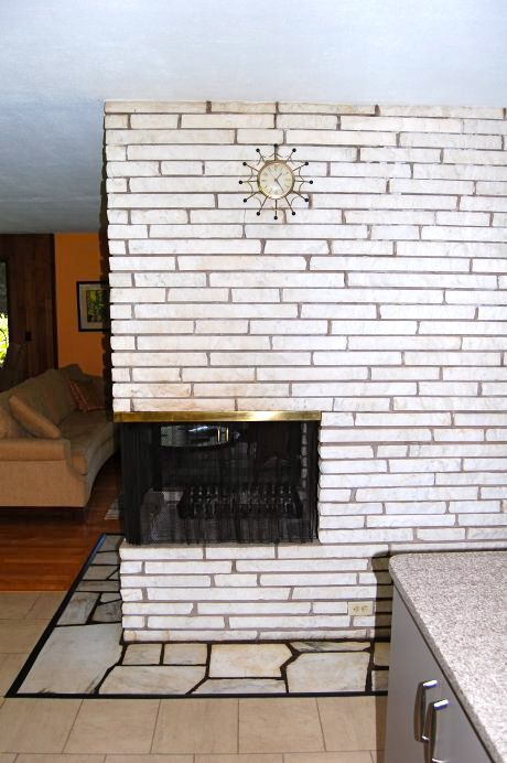 White Stone Brick Fireplace Surround Retrorenovation Cindys Midcentury