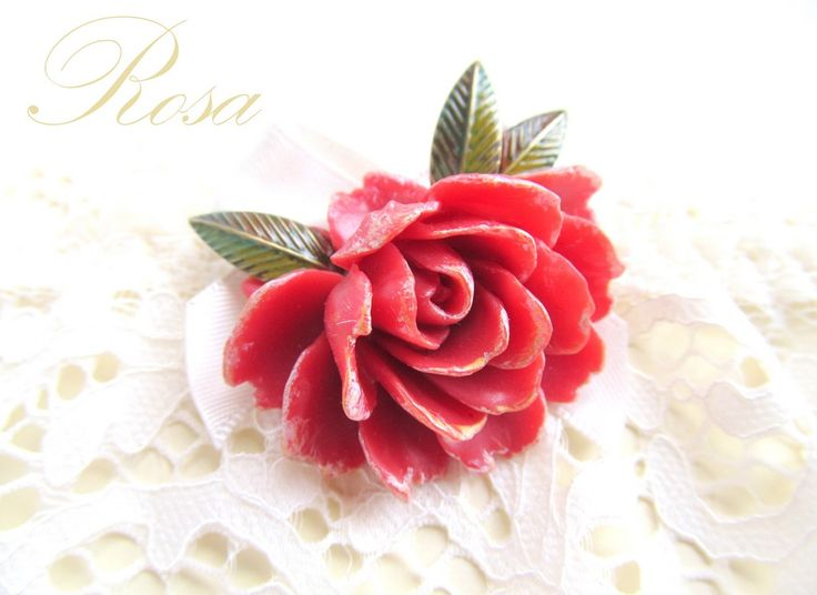 Large red rose brooch, with bronze leaves&patina ROSA (36 LEI la afterforever.breslo.ro)