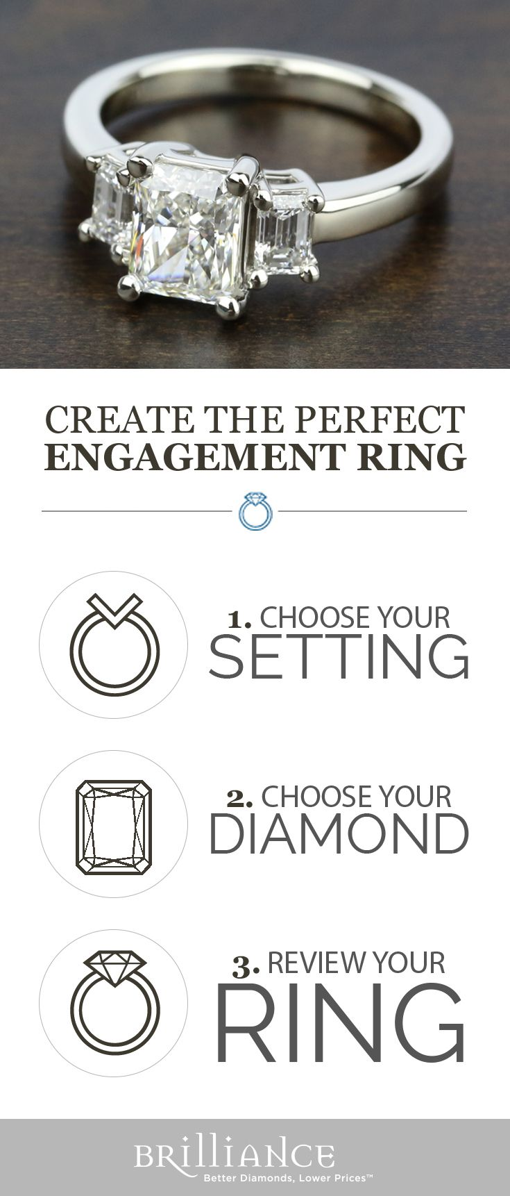 Create your perfect engagement ring! Start with a beautiful setting, add your choice of radiant diamond and see it all come together!