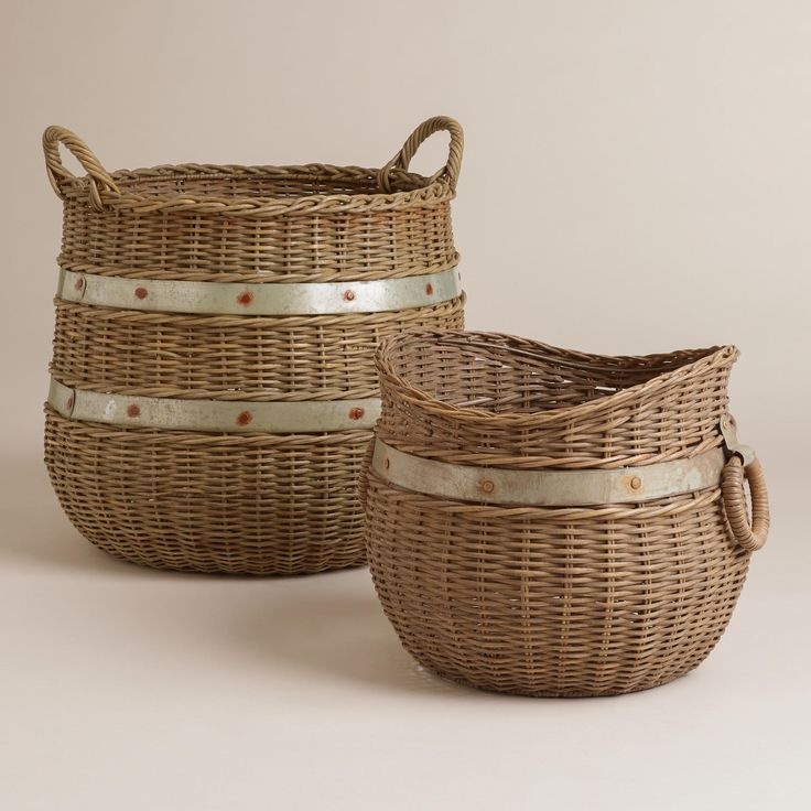 Calley Rattan and Metal Baskets   World Market