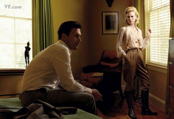 Jon Hamm and January Jones as Don and Betty Draper, by Annie Leibovitz for Vanity Fair