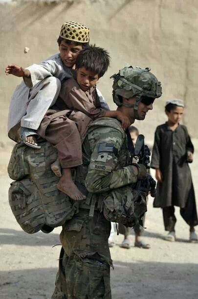 No load is too heavy for our men & women in uniform.   God bless them!