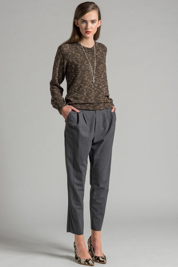 Punch Drunk Pant by Allison Wonderland. Fly front relaxed fit pleated pant.  Made in Canada.