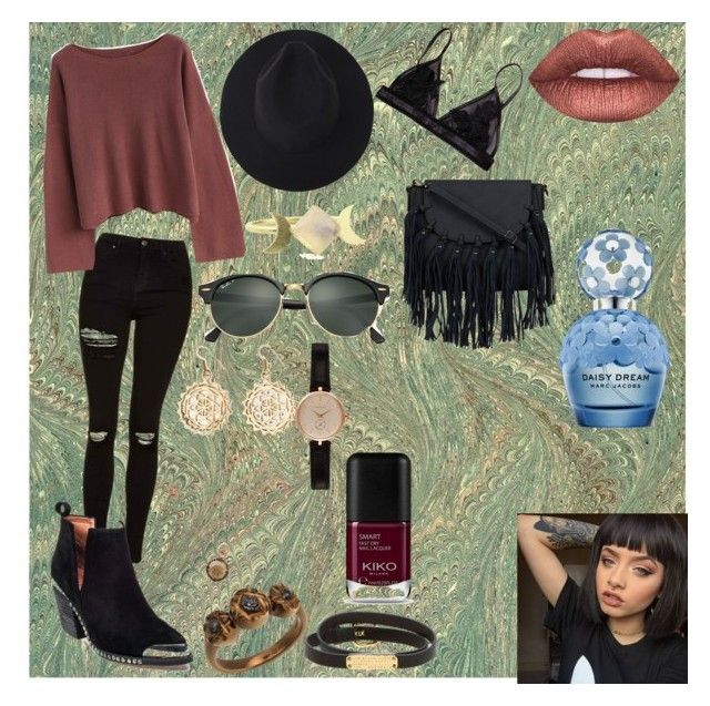 """""""witchy"""" by radgrrrlsclub ❤ liked on Polyvore featuring Topshop, Chicwish, Jeffrey Campbell, Ray-Ban, Urbiana, Katie Rowland, Damiani, Marc by Marc Jacobs, Barbour and Lime Crime"""